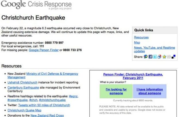 Google - Person Finder aiuta a contattare le vittime del