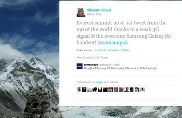 Twitter dalla cima dell'Everest