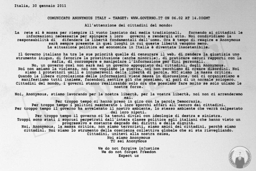 Continuano gli attacchi di Anonymous in Italia