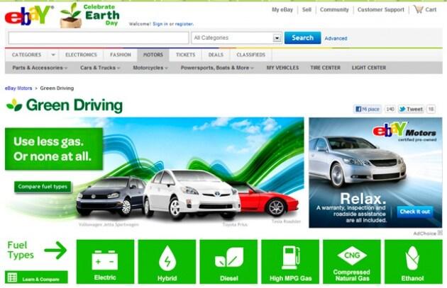 eBay apre un canale per le auto ecologiche
