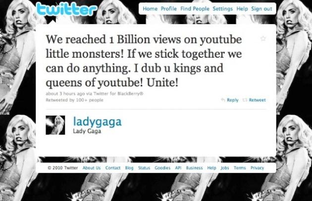 Lady Gaga supera un miliardo di visualizzazioni