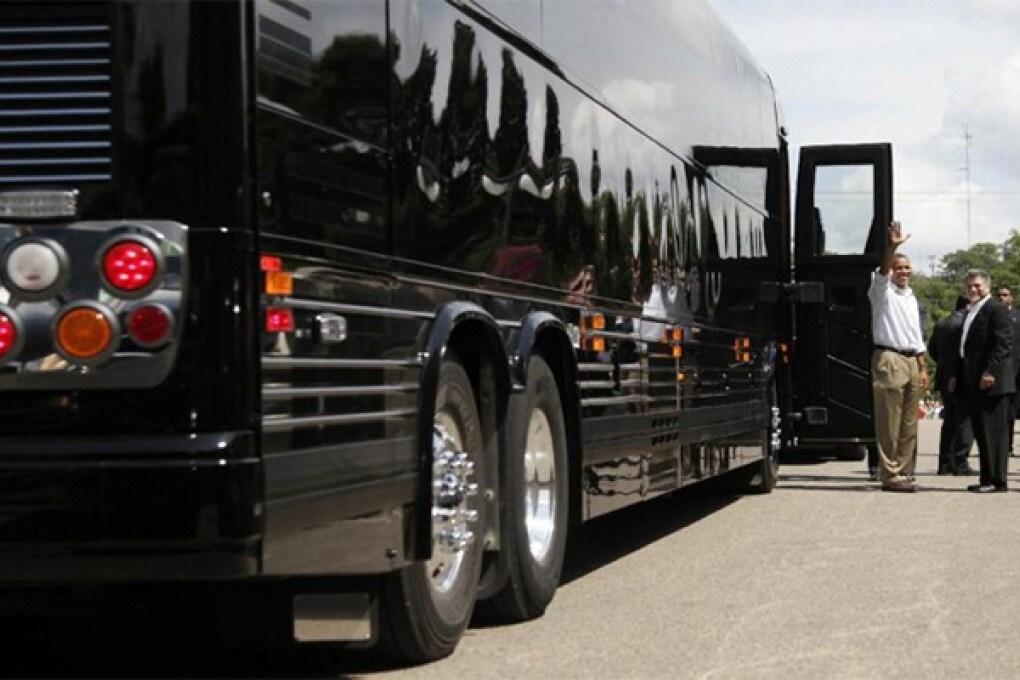 Obama in tour col suo bus blindato