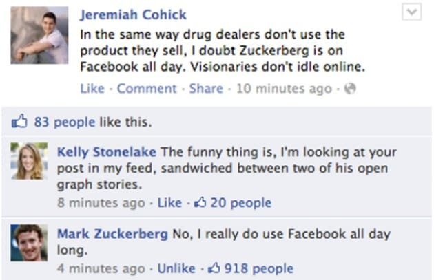 Mark Zuckerberg: sono sempre su Facebook!