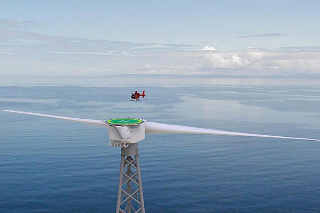 Due grandi pale, una turbina e un eliporto