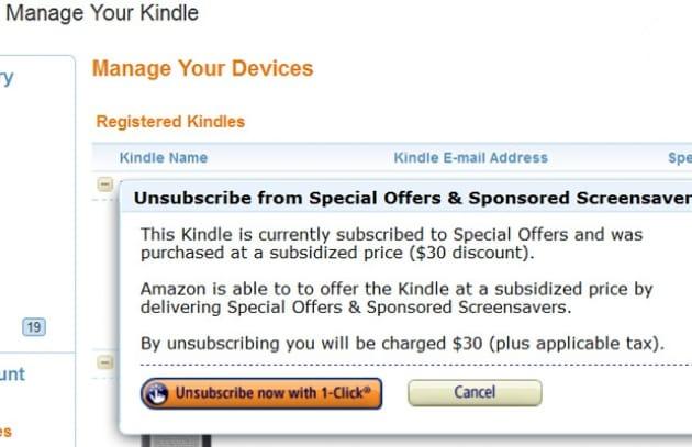Niente pubblicità sul Kindle? Paghi un extra