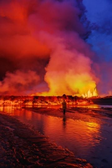 Fiumi e fontane di lava intorno al vulcano Bardarbunga
