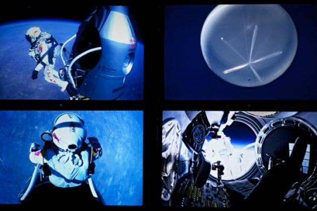 Felix Baumgartner festeggia il suo lancio da una