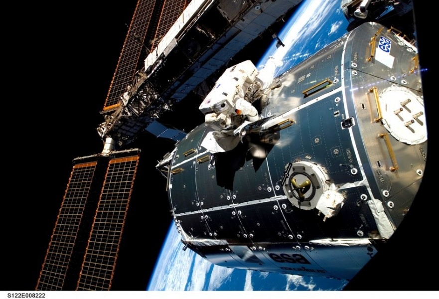 esa_astronaut_hans_schlegel_works_on_columbus_exterior_during_the_second_spacewalk_of_the_sts-122_mission_fullwidth