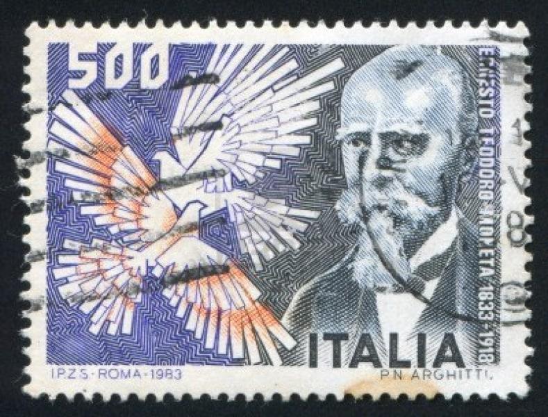 15849948-italy-circa-1983-stamp-printed-by-italy-shows-ernesto-moneta-circa-1983