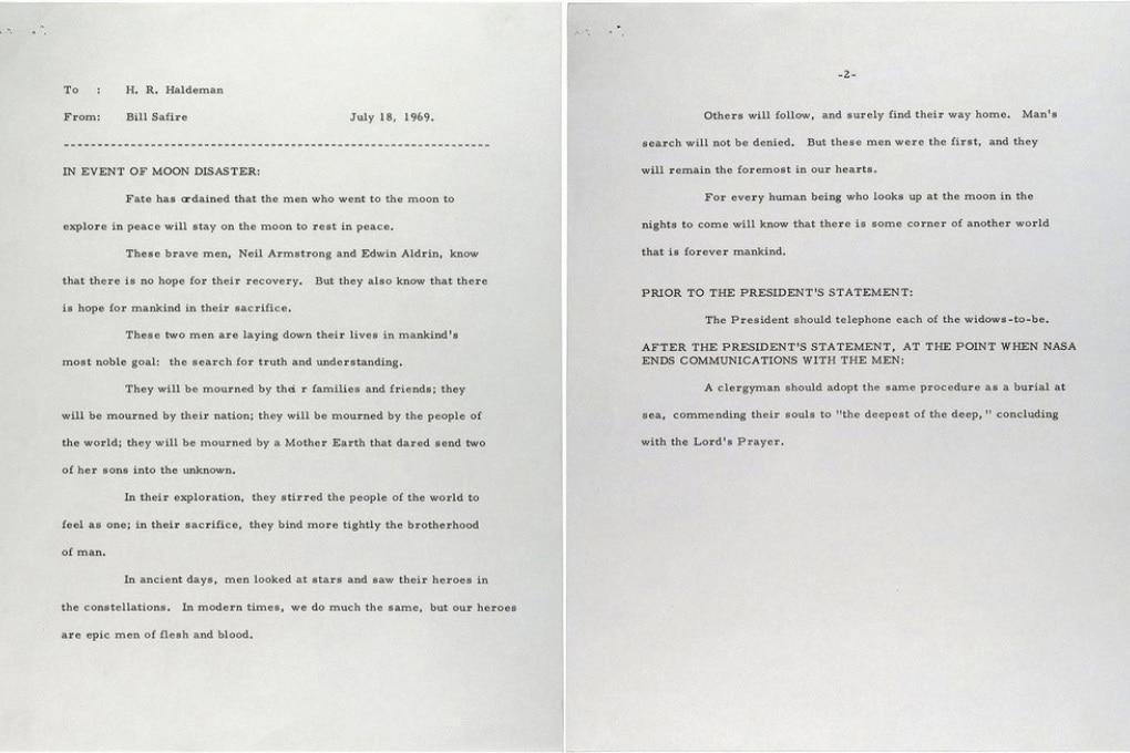 Che cosa avrebbe detto Nixon in caso di disastro della missione Apollo 11