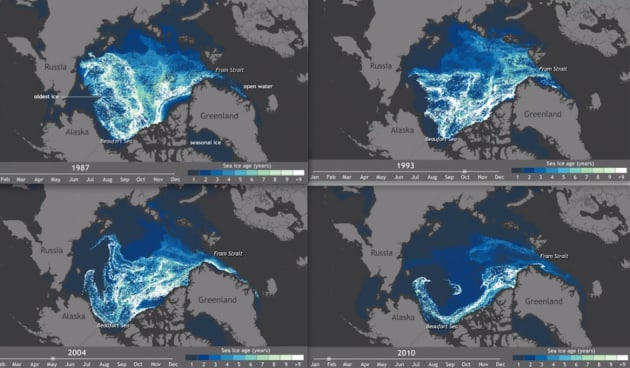Lo scioglimento dei ghiacci artici in time-lapse