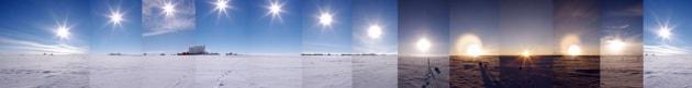 Antartide, il Sole di mezzanotte in una foto panoramica