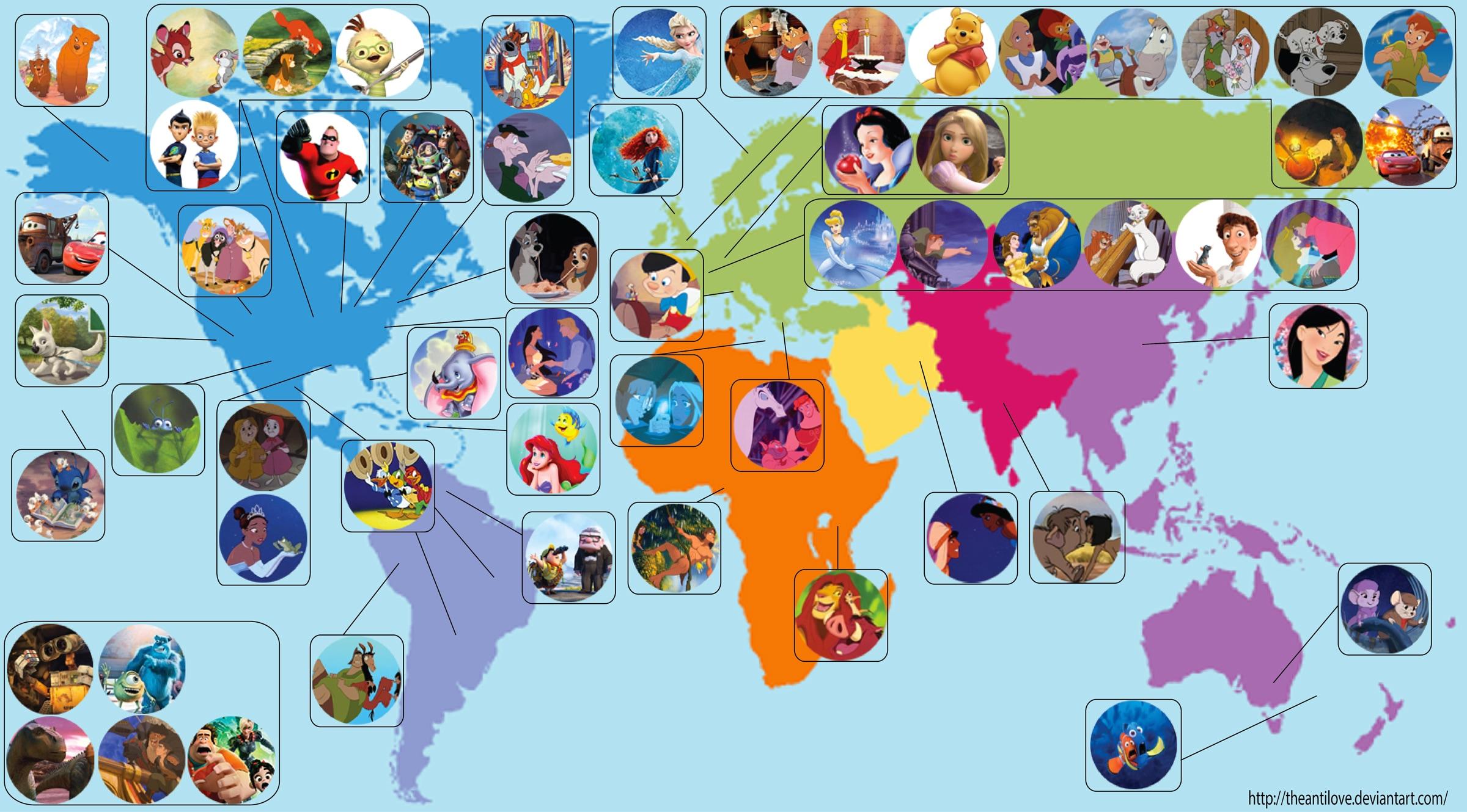 La mappa dei cartoni animati della disney focus