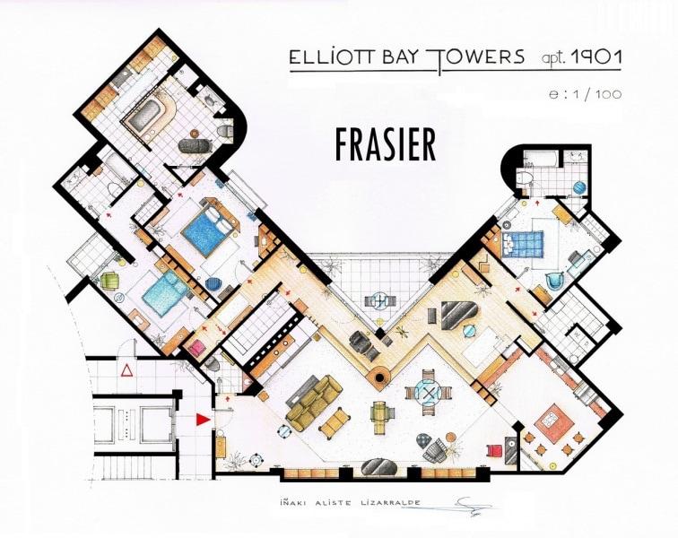 Le piantine delle case di serie e film famosi for Grandi planimetrie per le case