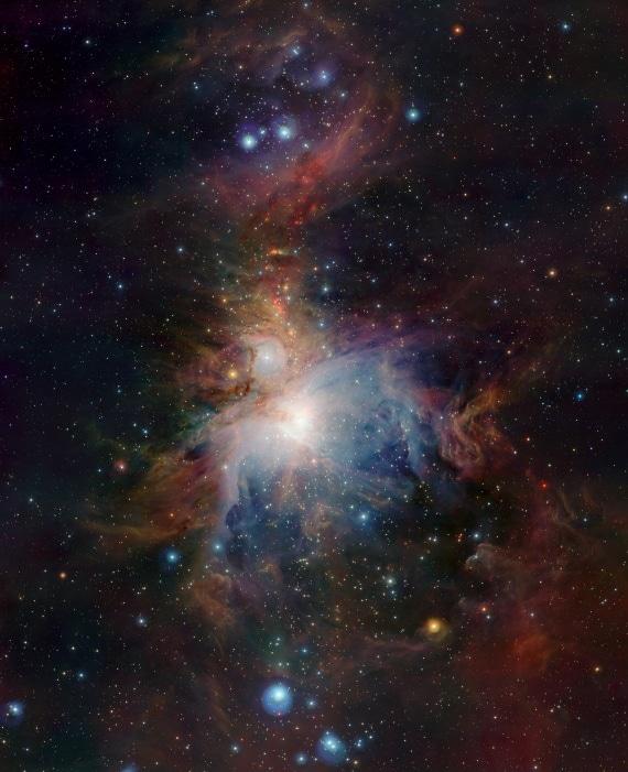 La Nebulosa di Orione immortalata da VISTA, il telescopio a infrarossi dell'Osservatorio Paranal.