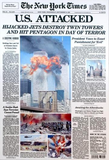 Le prime pagine dei giornali dopo l'11 settembre 2001