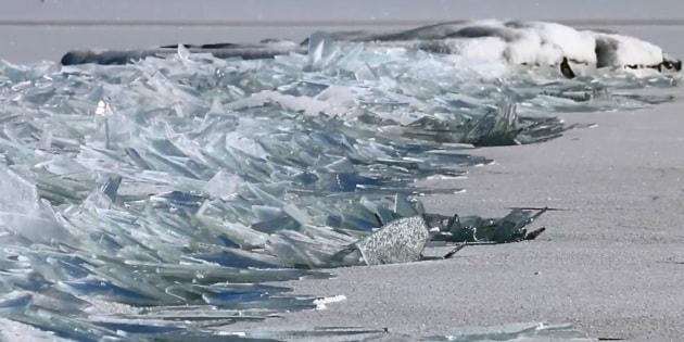 Foglie di ghiaccio su Lake Superior
