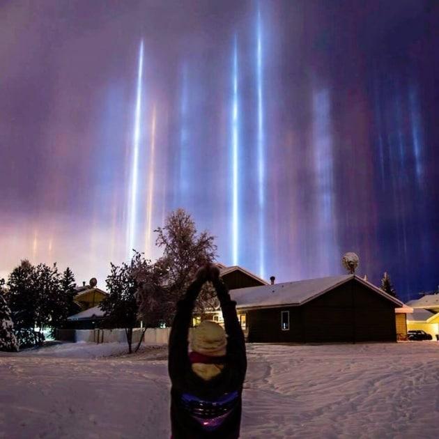 Light pillars, lo spettacolo dei pilastri di luce