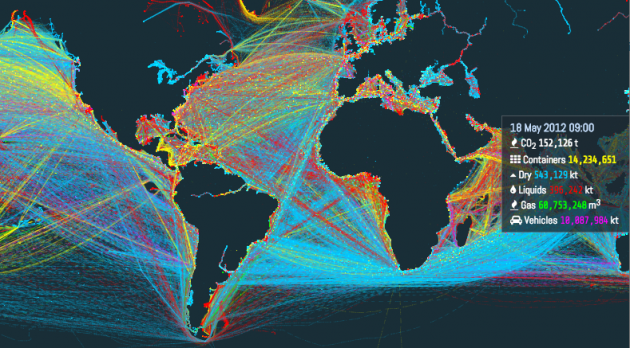La mappa interattiva delle rotte navali mondiali