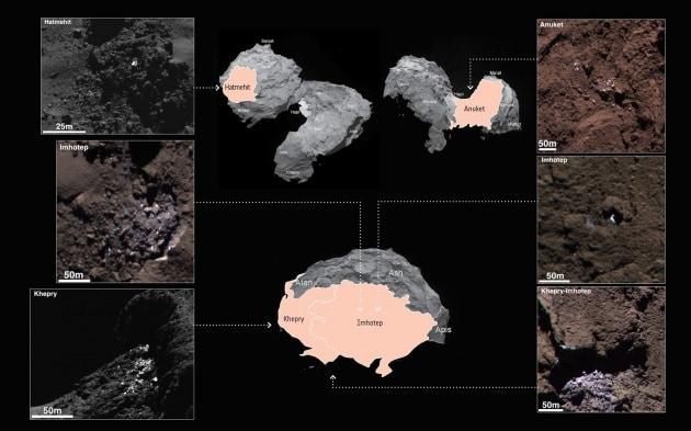 Rosetta: chiazze di ghiaccio sul nucleo della cometa Chury