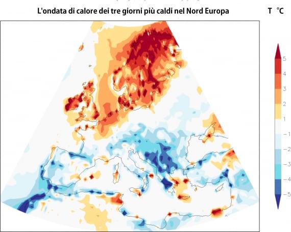 Le variazioni di temperatura durante l'ultima ondata di calore che ha interessato il Nord Europa