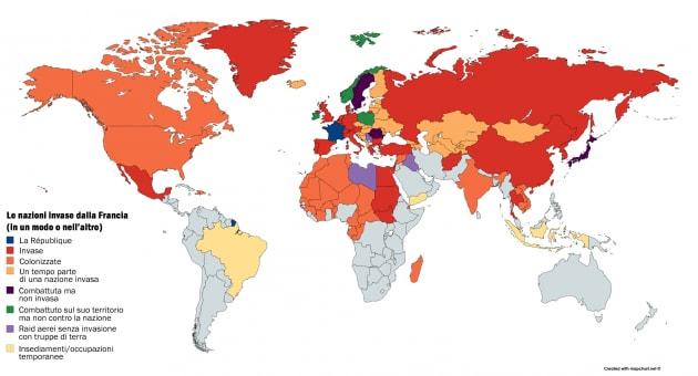 Tutti i paesi del mondo invasi (almeno una volta) dalla Francia