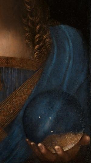 Dettaglio del globo di quarzo di rocca e dei capelli del Salvatore.