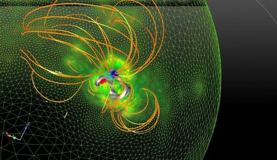 Sole, eruzioni solari, flare, brillamenti, campo magnetico solare, astrofisica, treccia magnetica