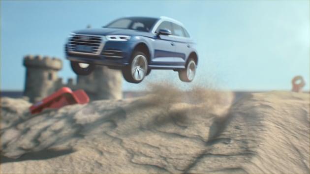 Guidare tra le dune di un castello di sabbia
