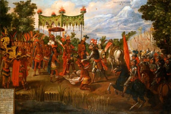 Conquistador Cortés incontra Montezuma