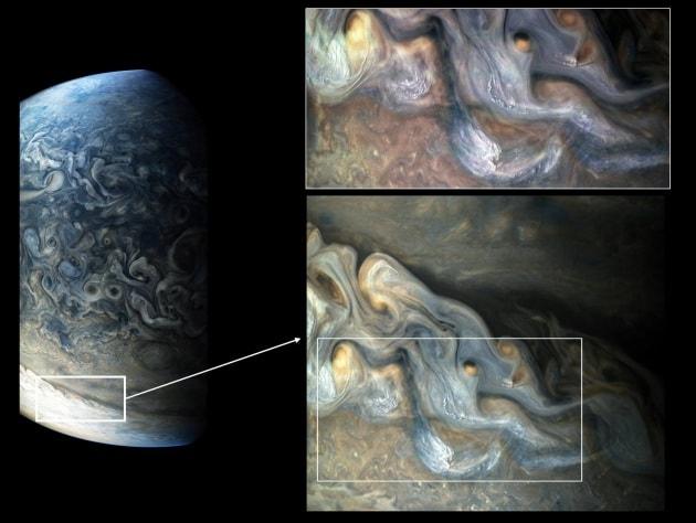 Dallo sonda Juno: fenomeni atmosferici fanno pensare che può grandinare su Giove