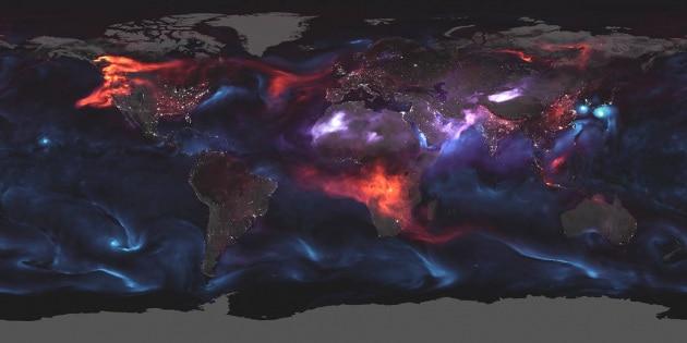 Un giorno negli aerosol terrestri: la mappa della NASA