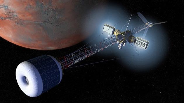 Illustrazione: potrebbe apparire così il nostro primo veicolo interplanetario con un settore a gravità artificiale.|Nasa