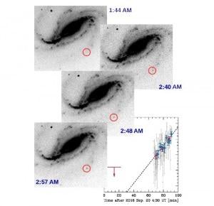 Le immagini di Buso (in negativo) mostrano chiaramente la galassia prima e dopo l'esplosione.