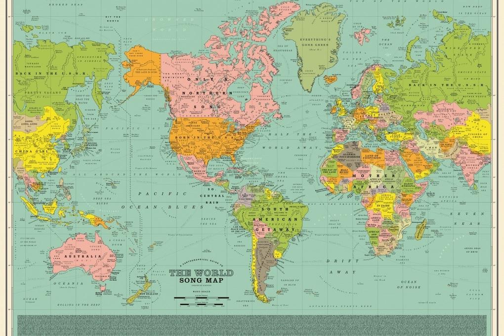 La mappa del mondo fatta con i titoli delle canzoni