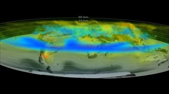 I dati di OCO2 hanno permesso di mostrare gli spostamenti dell'anidride carbonica