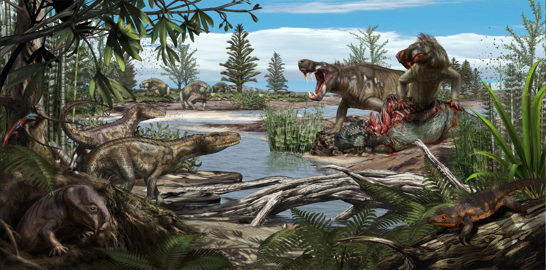 Risultati immagini per Una ricostruzione del Bletterbach 260 milioni di anni fa