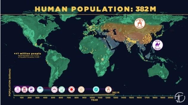 La diffusione dell'uomo sulla Terra in 5 minuti