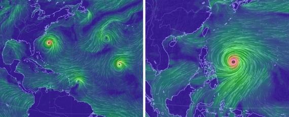 uragani, tifoni, cicloni, tempeste, Florence, Mangkhut
