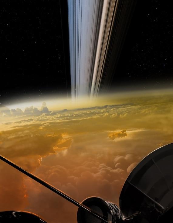 Una rappresentazione artistica di uno dei sorvoli ravvicinati di Cassini.