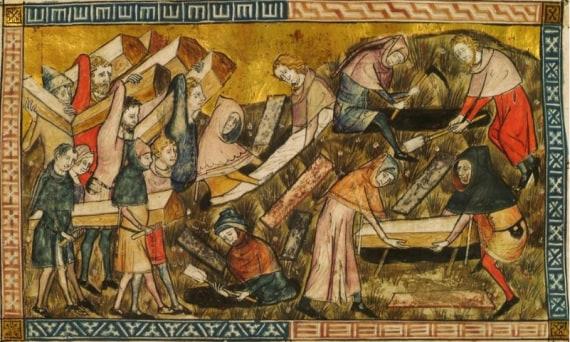 La sepoltura delle vittime della Peste Nera a Tournai, in Belgio