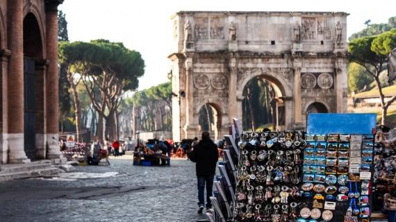 colosseo, souvenir, turisti, Roma