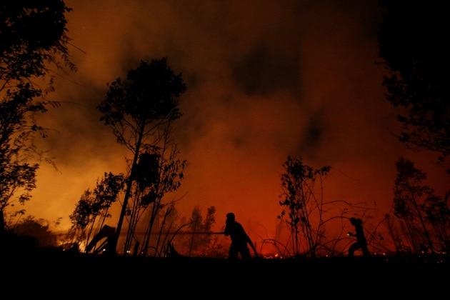 A fuoco la foresta in Indonesia: il cielo si tinge di rosso