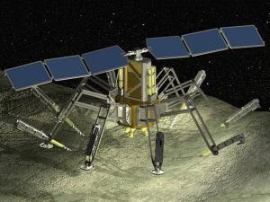 sonda spaziale, propulsione, vapore, illustrazione.