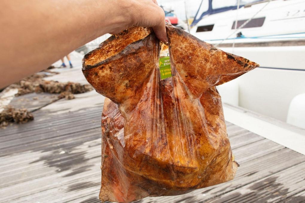 Le buste biodegradabili ancora integre dopo 3 anni in mare