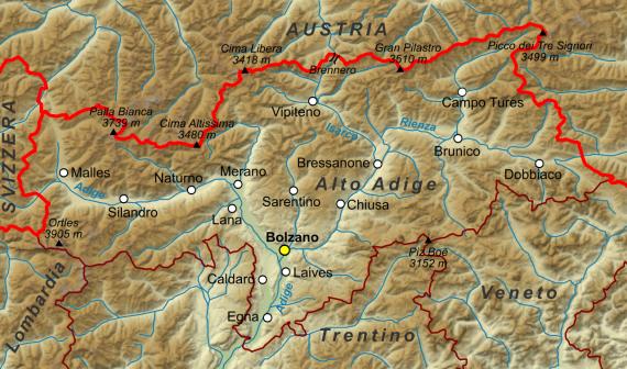 I confini dell'Alto Adige dopo il 1948.