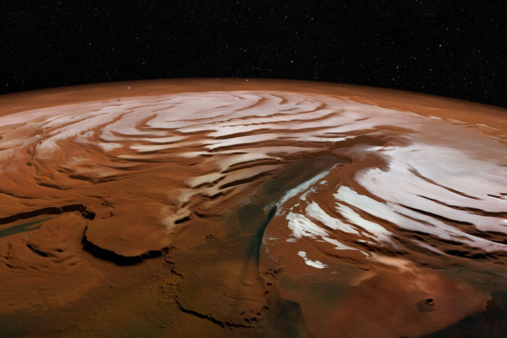 Marte: antichi strati di ghiaccio sepolti sotto la calotta polare